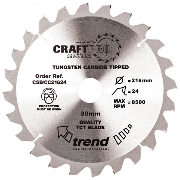 Trend CSB/CC21624 CraftPro Saw Blade Crosscut 216mm x 24 Teeth x 30mm