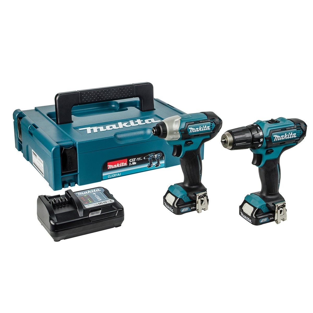 Makita CLX201AJ Drill Set 10.8v CXT Slide Twin Pack Drill Driver/Impact Driver