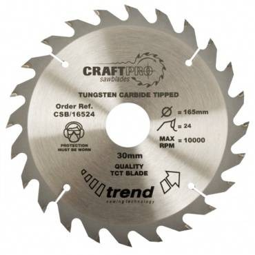 Trend CSB/16524 CraftPro Saw Blade 165mm x 24 th. x 30mm