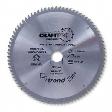 Trend CSB/AP26096 CraftPro Saw Blade Aluminium / Plastic 260mm x 96 Teeth x 30mm