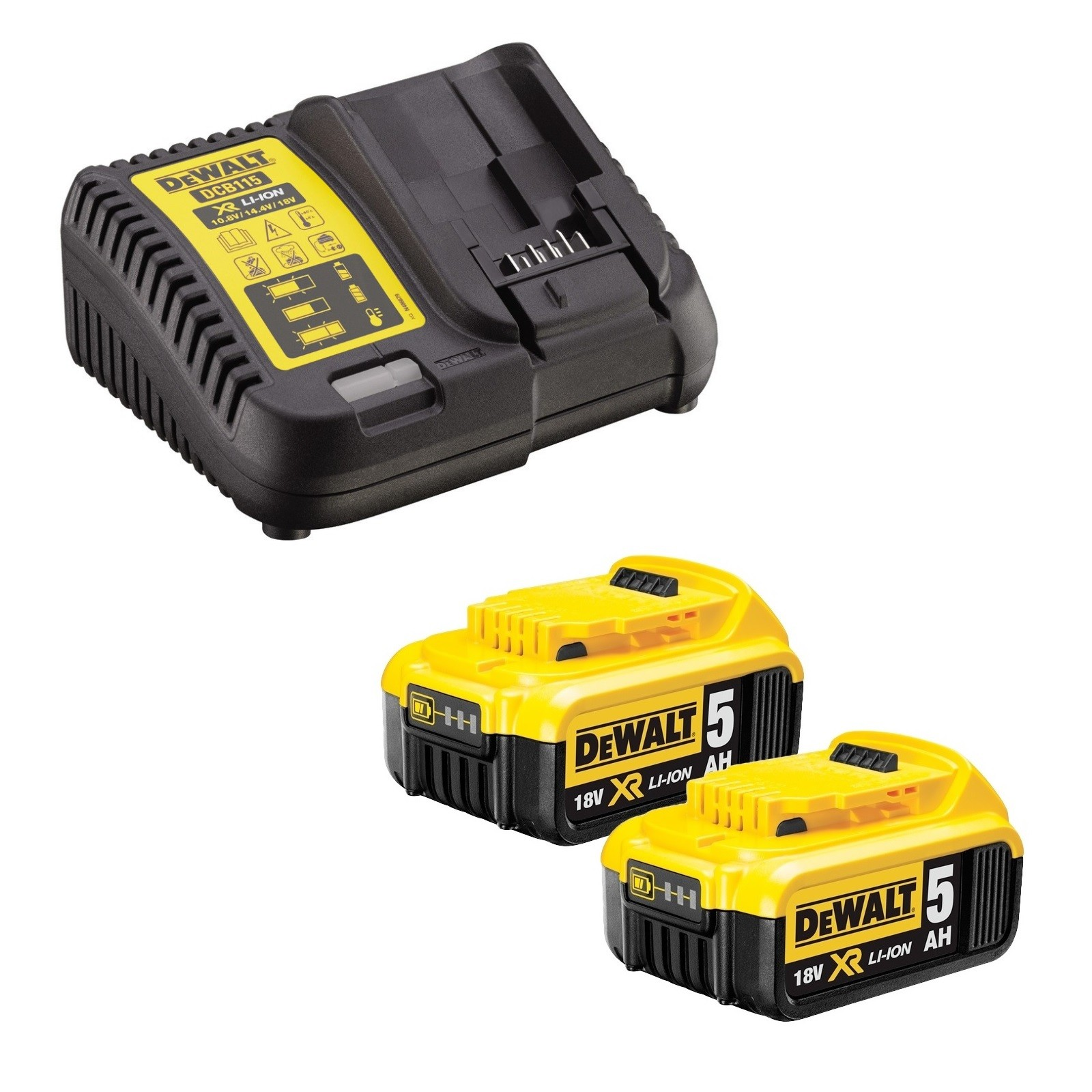 DeWalt DCB184X2/DCB115 2x 5.0Ah XR 18v Li-Ion Batteries and Charger Starter Kit