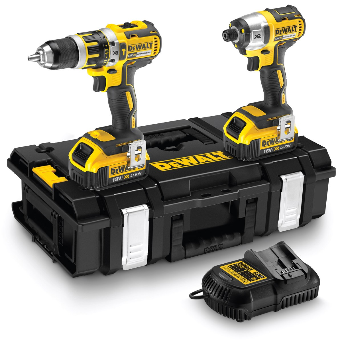 DeWalt DCK250M2 18V XR li-ion Brushless Combi Drill and Impact Driver Twinpack Inc 2 x 4Ah Batt