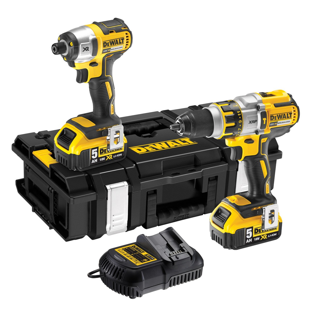 DeWalt DCK255P2 Brushless 18v Combi Drill & Impact Driver inc 2x 5Ah Batts