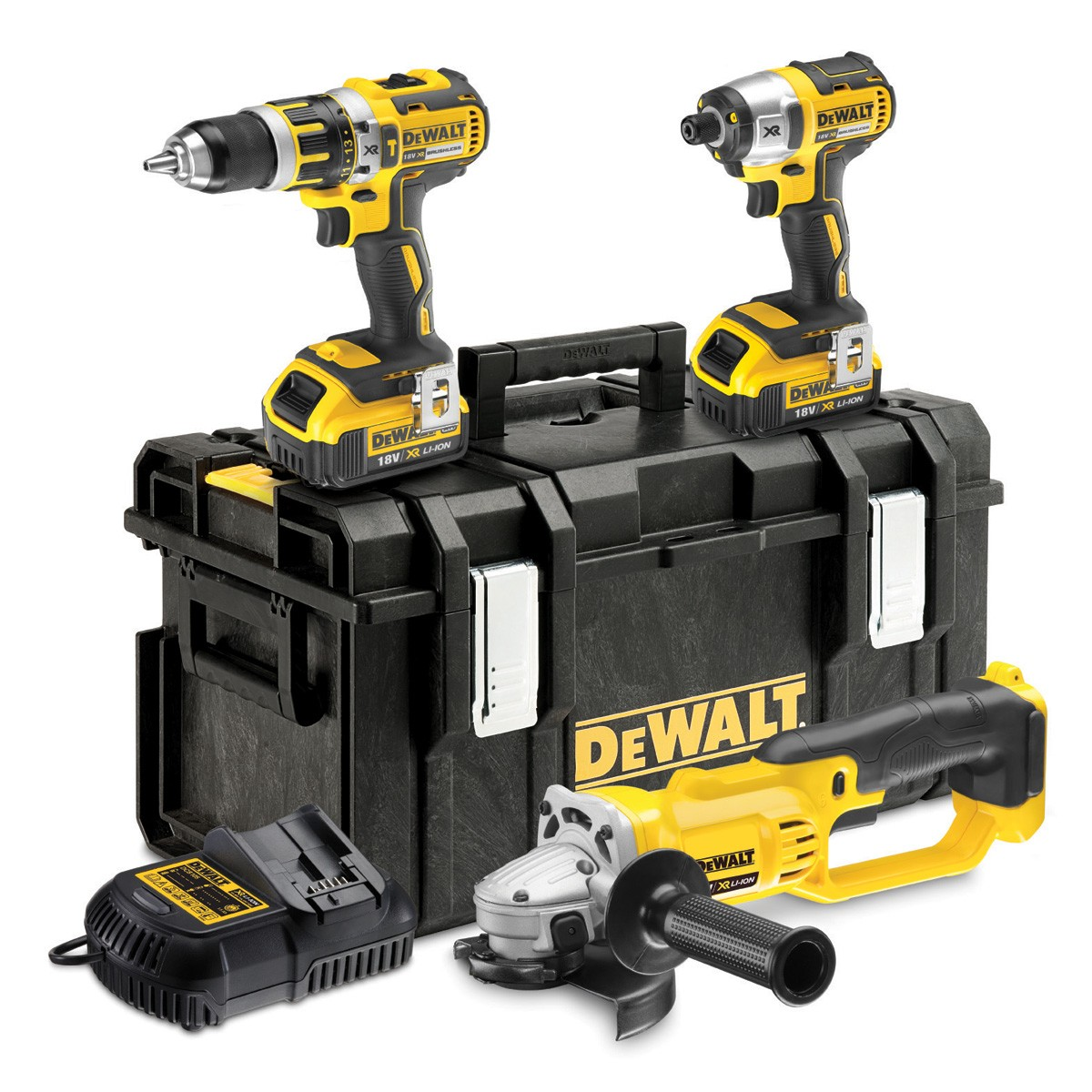 dewalt dck382m2 18v xr brushless impact driver combi drill angle grinder triple pack with 2x. Black Bedroom Furniture Sets. Home Design Ideas