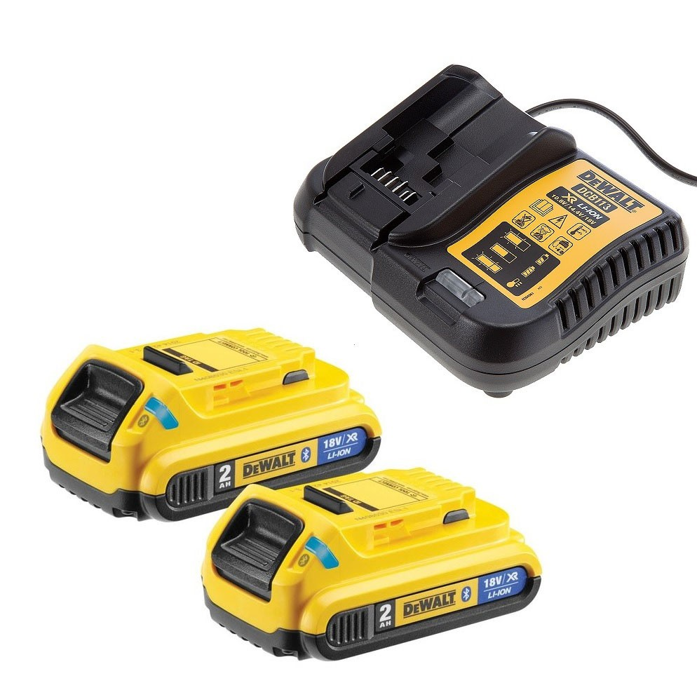 DeWalt DCB183BX2/DCB113 2x 2.0Ah XR 18v Batteries & Charger Starter Kit with Bluetooth