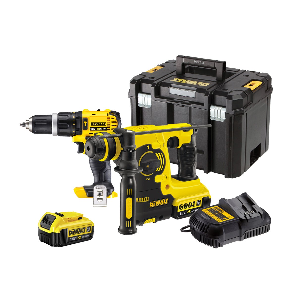dewalt dck206m2t 18v xr li ion twin kit inc 2x 4ah batts. Black Bedroom Furniture Sets. Home Design Ideas