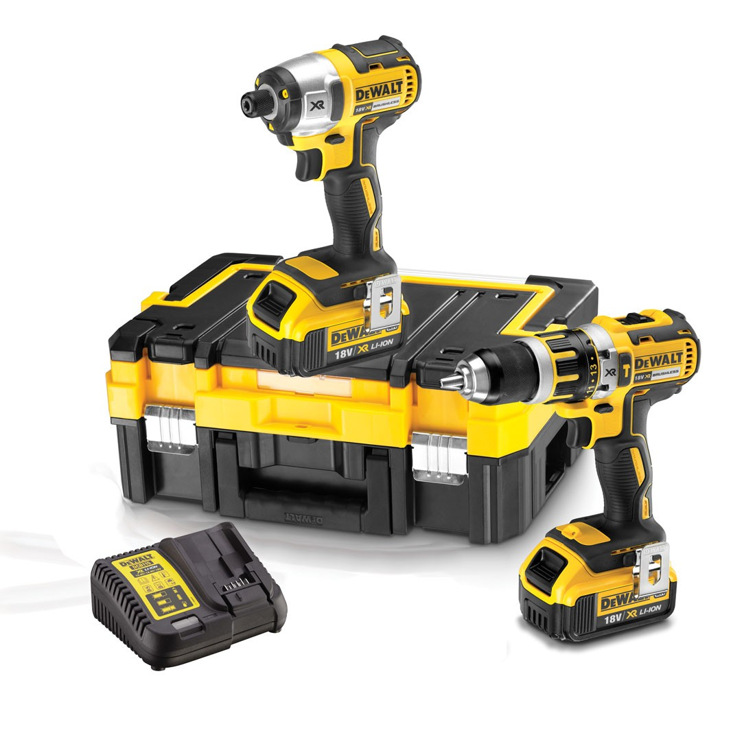 DeWalt DCK259M2T Combi Drill & Impact Driver Brushless Twin Kit inc 2x 4.0Ah Batts