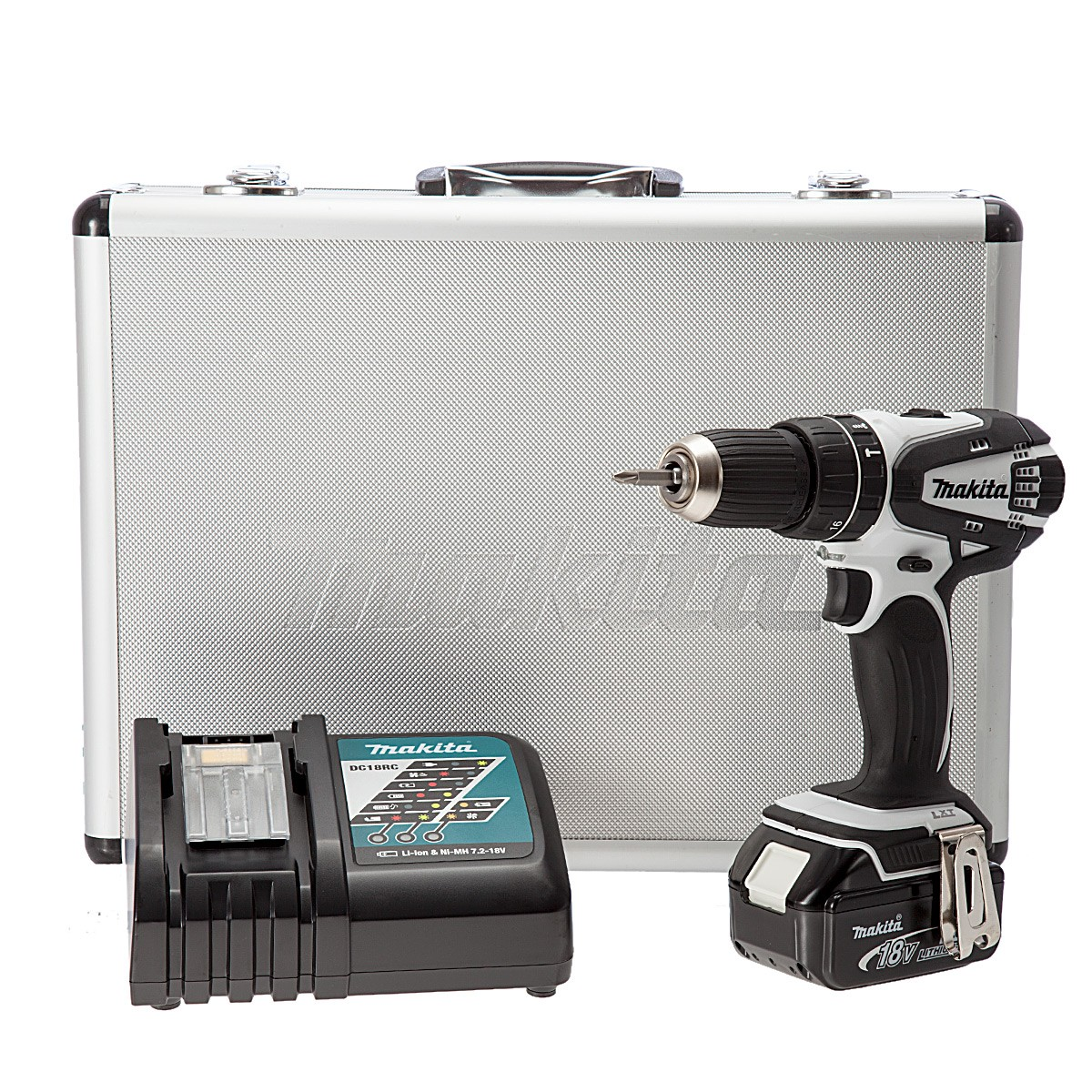Makita DHP456RMWX 18v White Combi Drill inc 1x 4Ah Batt in Aluminium Case