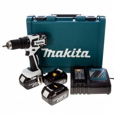 Makita DHP459RF3W 18v Cordless 13mm Brushless 2-Speed White Combi Drill inc 2x 4.0Ah Batts