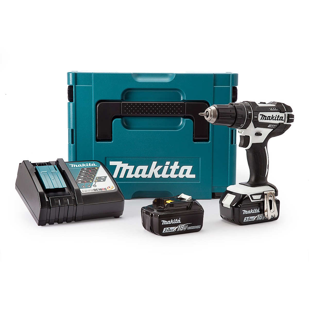 Makita DHP482RFWJ 18v LXT White Combi Drill inc 2x 3.0Ah Batteries