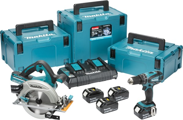 makita dlx2084pmj 18v cordless 2 piece kit dhp456 combi. Black Bedroom Furniture Sets. Home Design Ideas