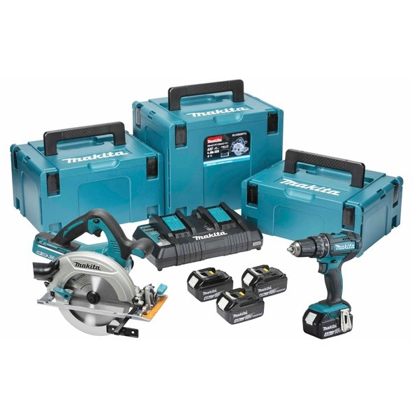 Makita DLX2140PMJ 18v 2 Piece Cordless Kit inc 4x 4.0Ah Batts and 3x MakPac Cases