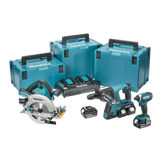 Makita DLX3049PTJ 18v 3 Piece Cordless Kit inc 4x 5.0Ah Batts and 3x MakPac Cases