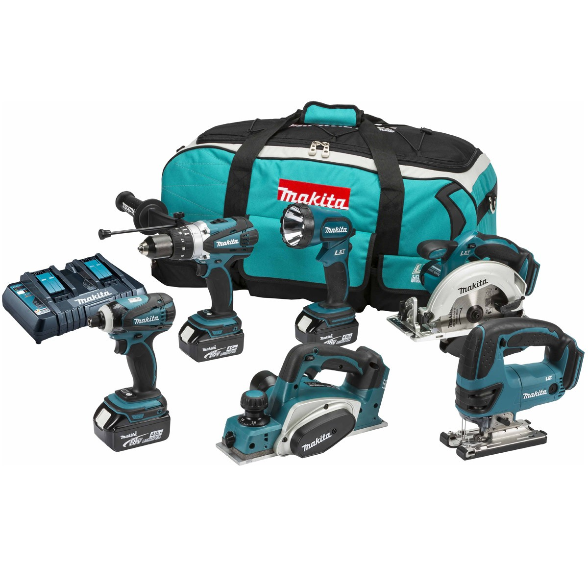 makita dlx6012pm 18v 6 piece kit inc 3x 4ah batts with twin charger powertool world. Black Bedroom Furniture Sets. Home Design Ideas