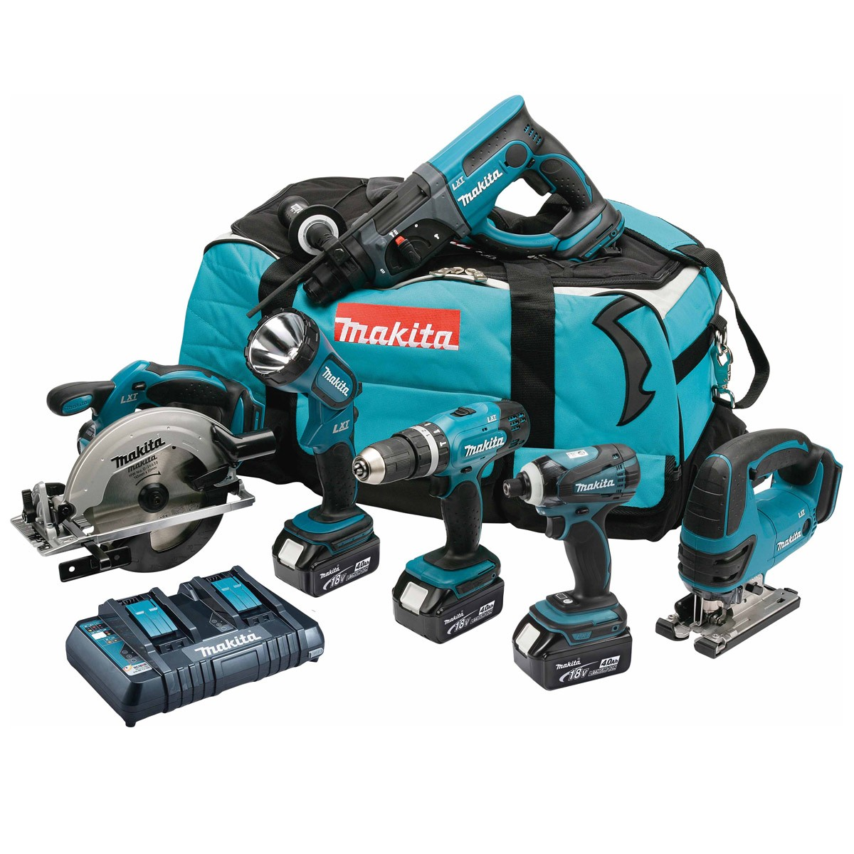Makita DLX6017PM 18v 6 Piece Kit inc 3x 4Ah Batts with Twin Charger