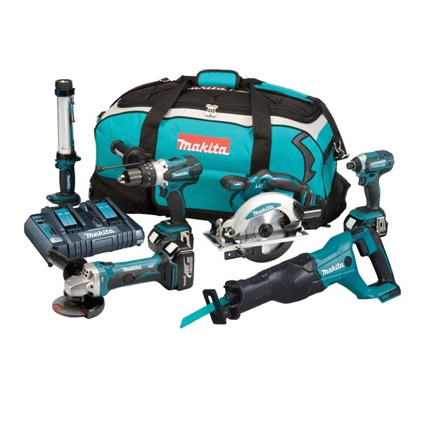 Makita DLX6044PT 18V Li-ion 6 Piece Cordless Kit 3x 5.0Ah Batts with Twin Charger