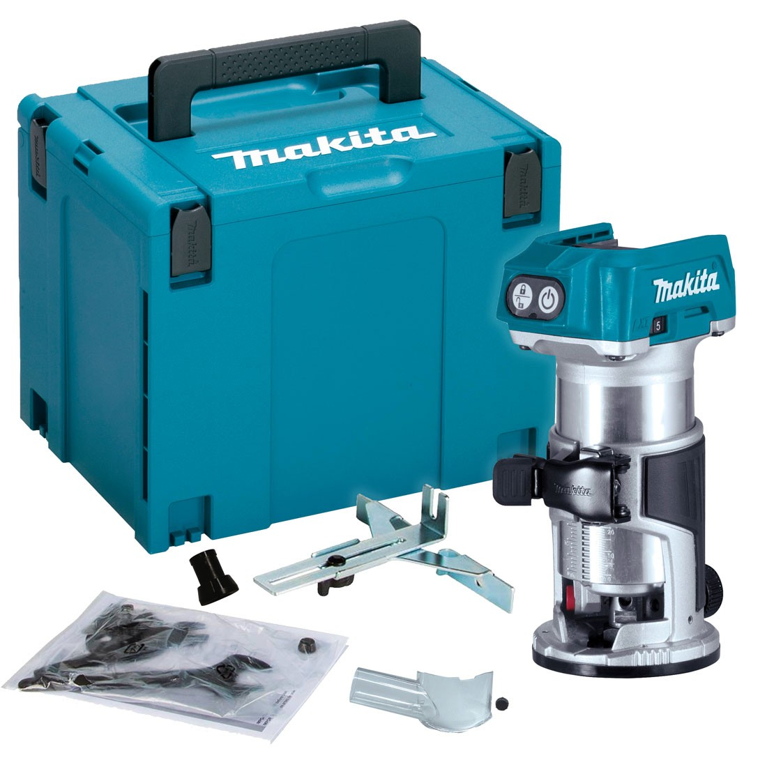 Makita DRT50ZJ Cordless Router Laminate Trimmer Body Only in Makpac Case | Powertool World