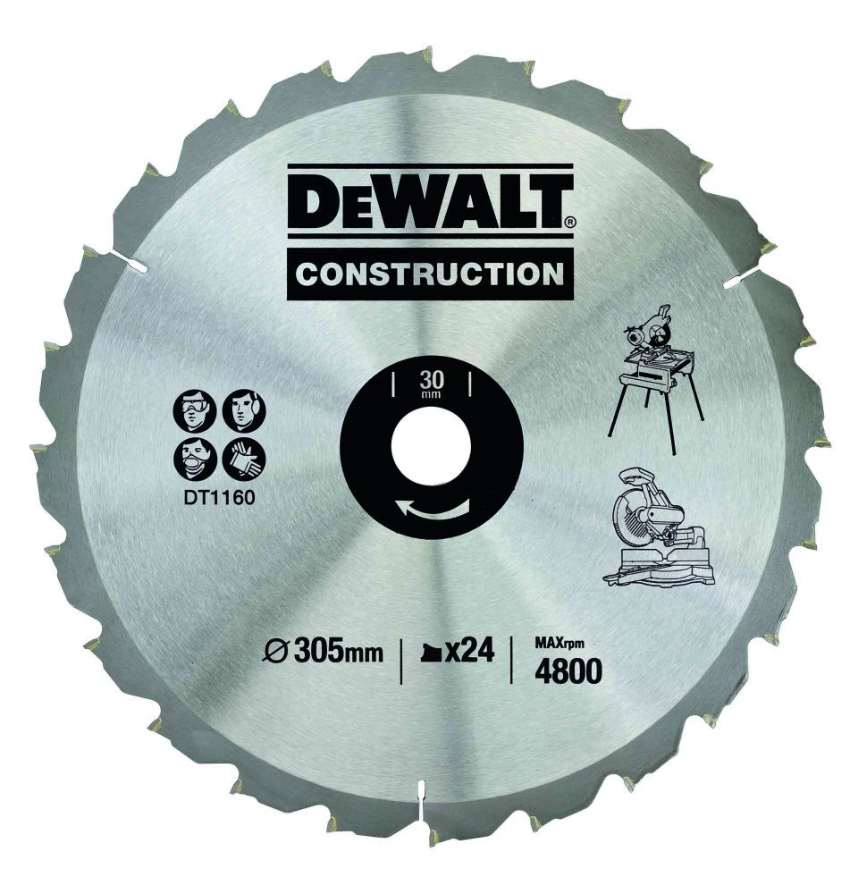 DeWalt DT1160-QZ Circular Saw Blade Construction 305mm x 30mm x 24 Teeth