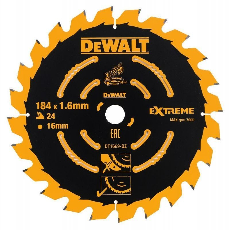 DeWalt DT1669-QZ Coarse Saw Blade for Cordless Mitre Saws 184mm x 16mm x 24 Teeth