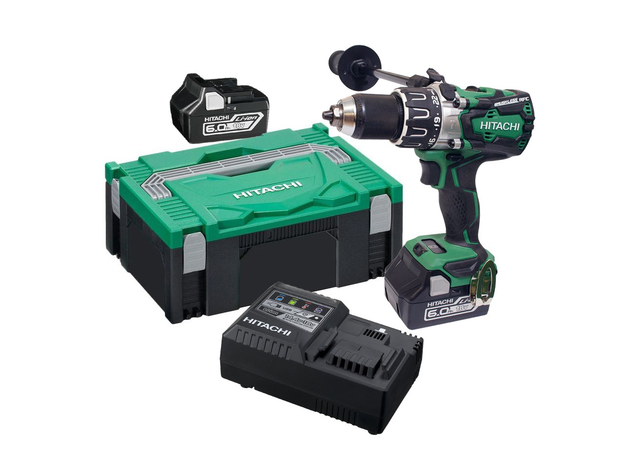 Hitachi DV18DBXL/JX 18v Brushless Combi Drill inc 2x 6.0Ah Batts