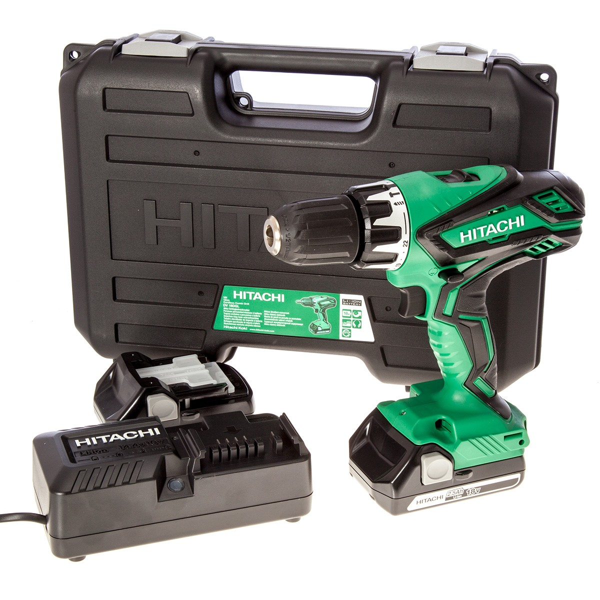 hitachi dv18dgl jg 18v cordless li ion combi drill including 2x 2 5ah lithium ion batteries. Black Bedroom Furniture Sets. Home Design Ideas