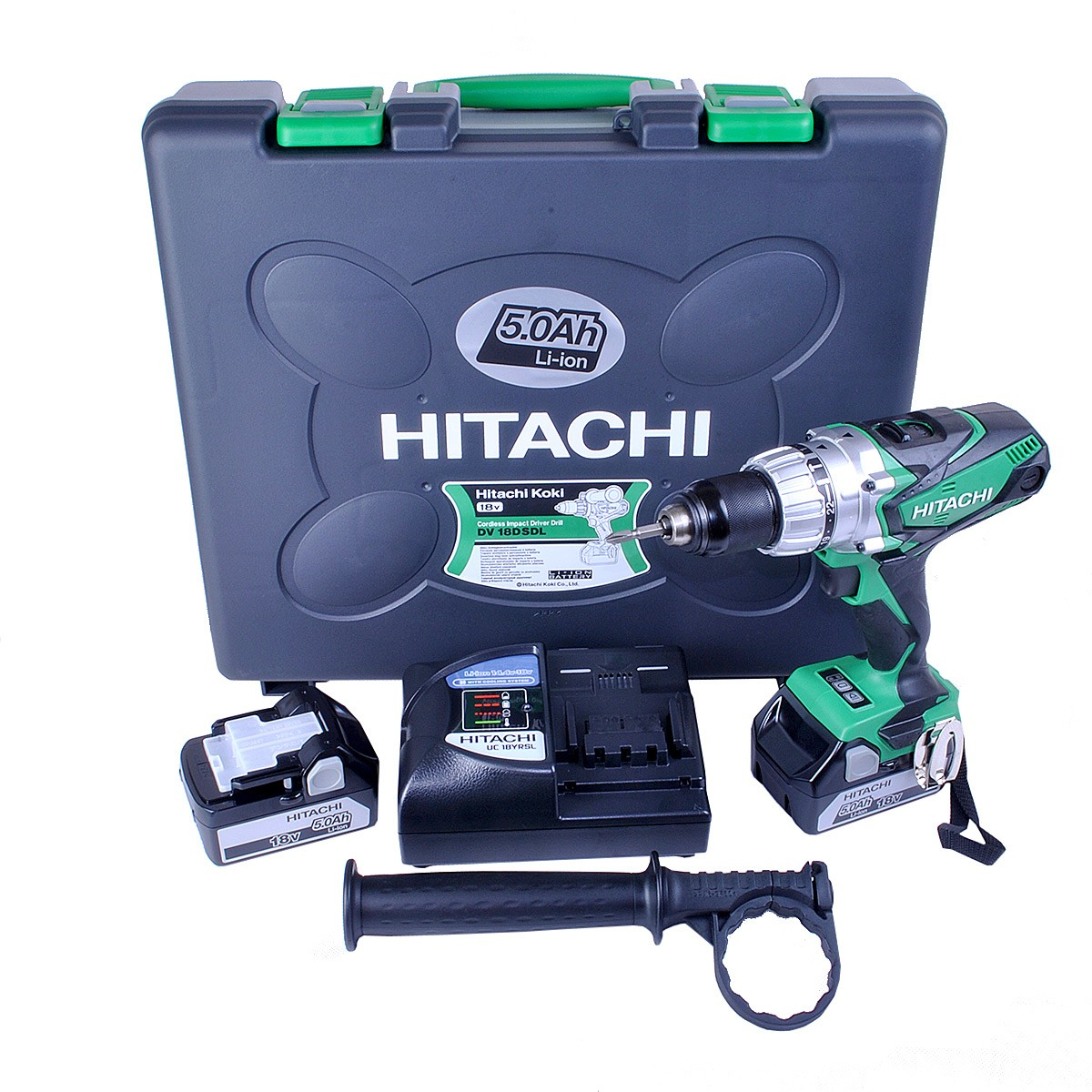 Hitachi DV18DSDL/JJ 18v Cordless Combi Drill inc 2x 5.0Ah Li-ion Batteries in Carry Case