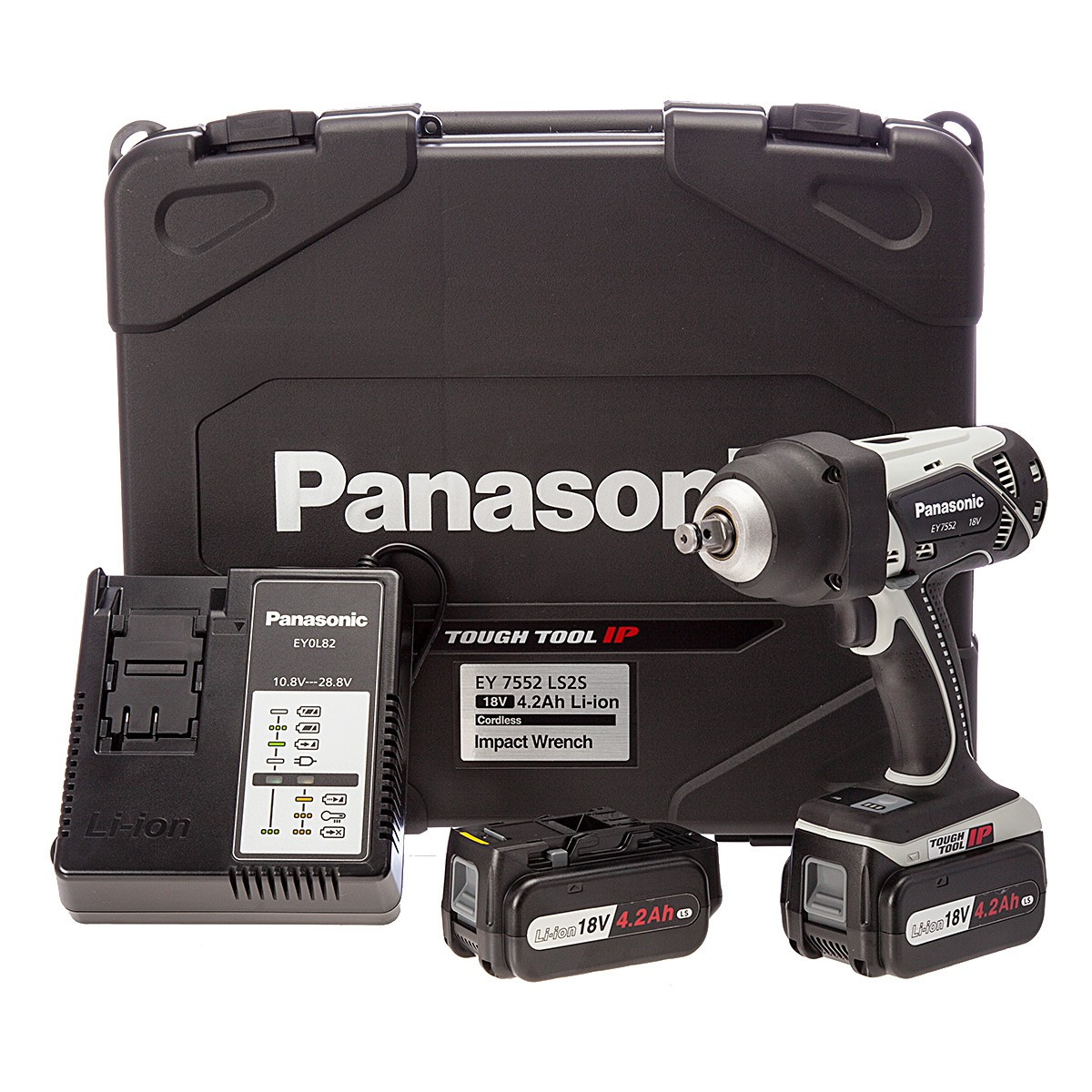 "Panasonic EY7552LS2S31 18v Heavy Duty 1/2"" Impact Wrench inc 2x 4.2Ah Batts"