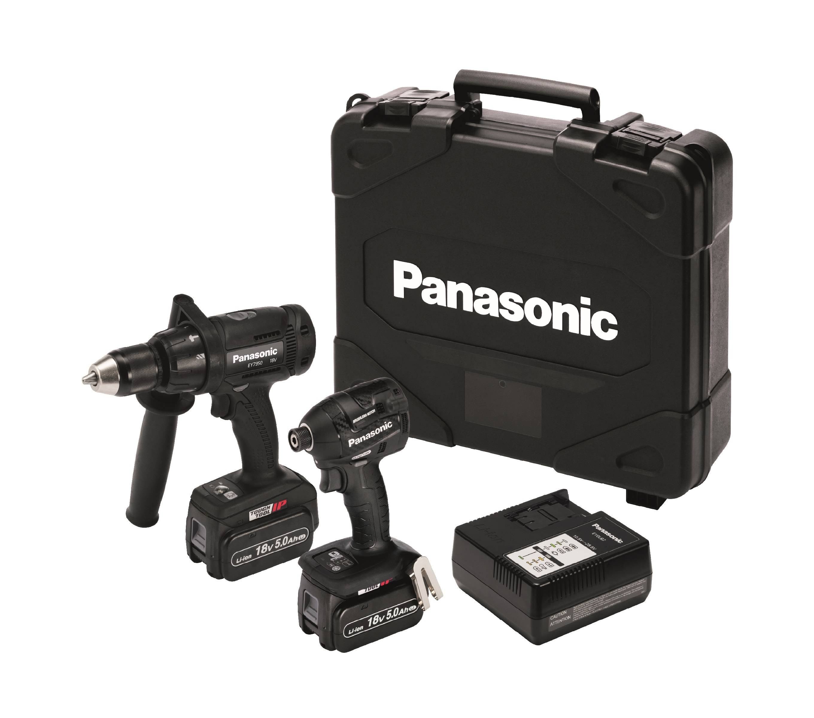 Panasonic EYC218LJ2G Twin Kit inc Combi Drill & Impact Driver plus 2x 5.0Ah Batts