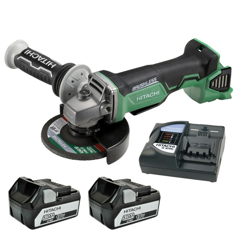 Hitachi G18DBAL/JJ 18v Brushless Angle Grinder inc 2x 5.0Ah Batts