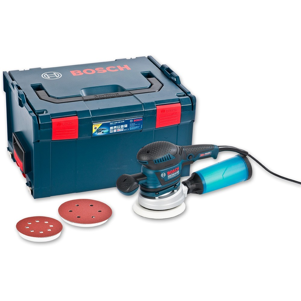 bosch gex 125 150 ave random orbit sander in l boxx carry case powertool world. Black Bedroom Furniture Sets. Home Design Ideas