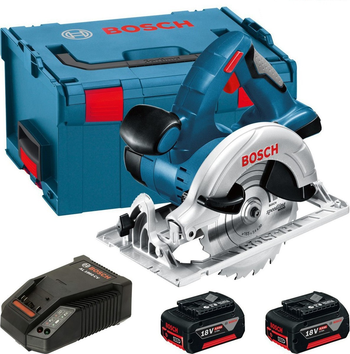 bosch gks 18 v li cordless circular saw inc 2x 4ah batteries charger and l boxx carry case. Black Bedroom Furniture Sets. Home Design Ideas
