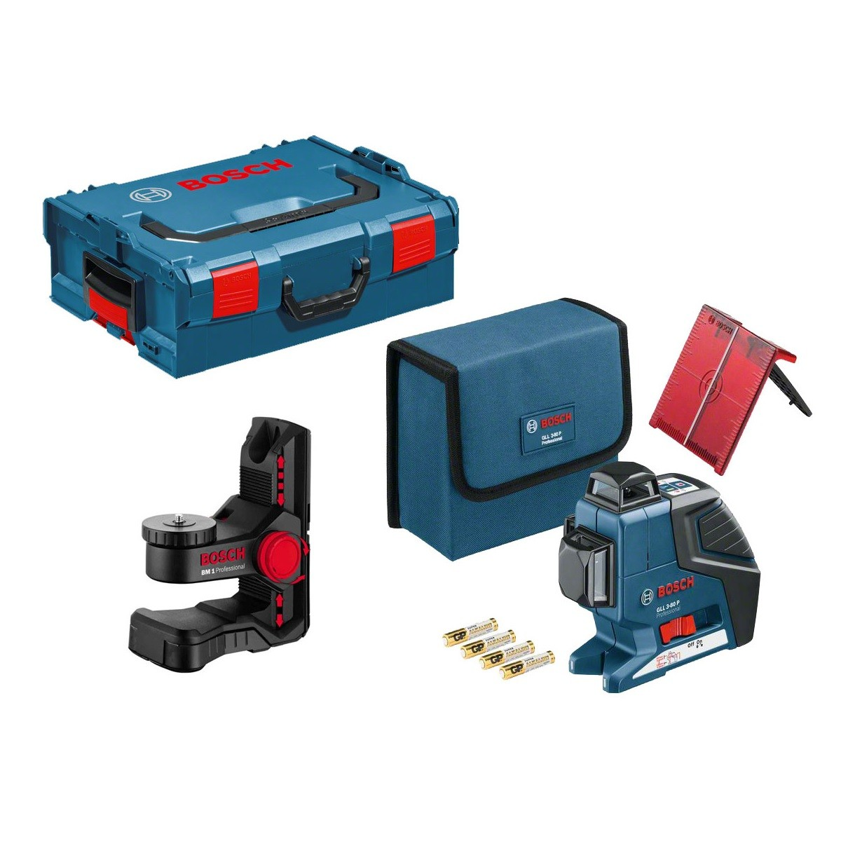 Bosch GLL 3-80 P Self Levelling Laser inc BM1 Wall Mount in L-Boxx