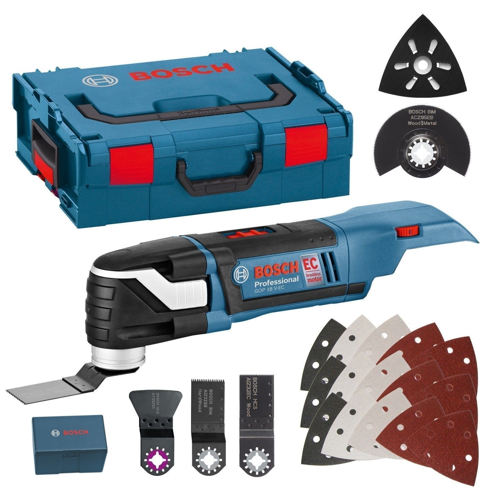 Bosch GOP 18 V-EC Brushless Multi-Cutter with 20 Accessories Body Only in L-Boxx