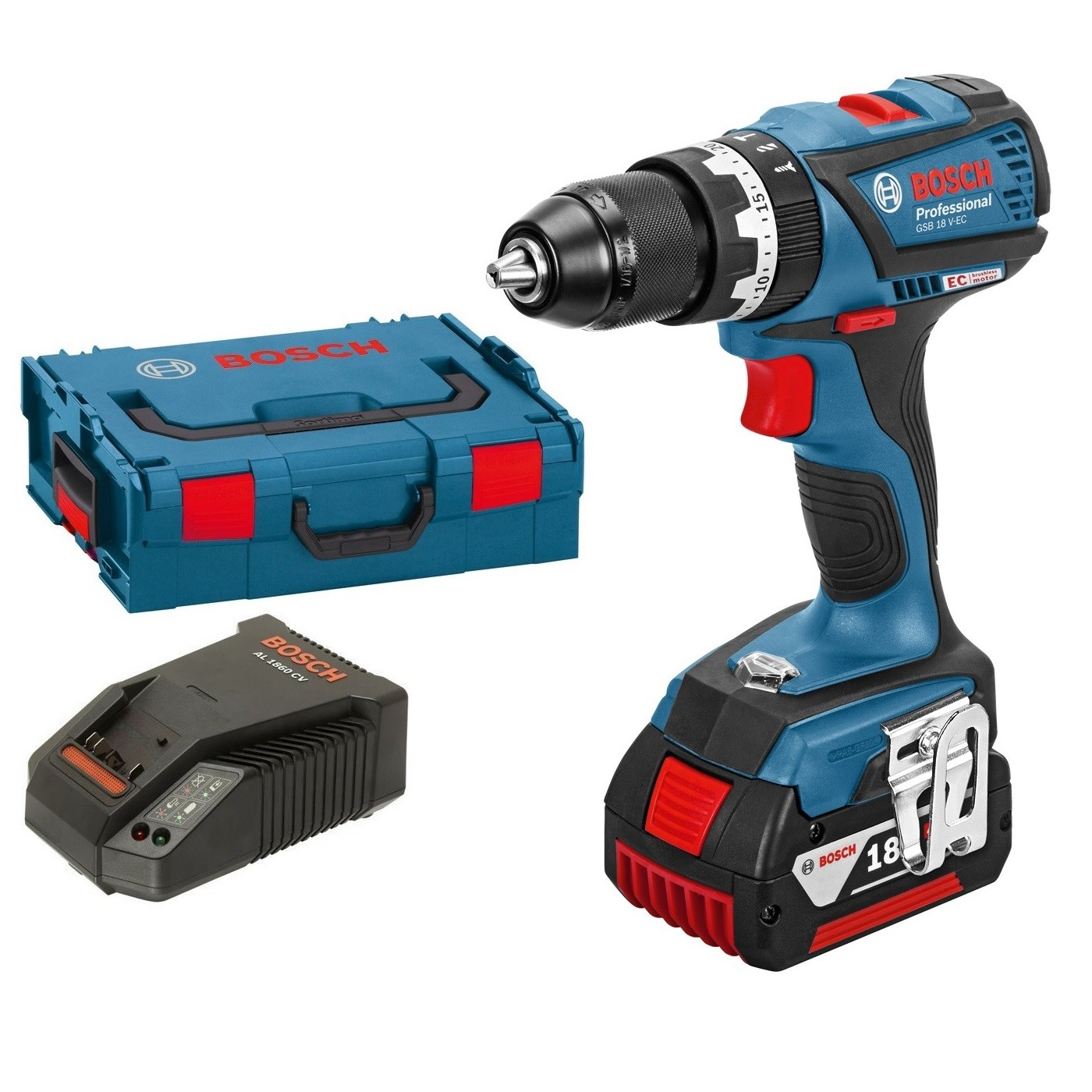 Bosch GSB 18 V-EC Professional Brushless Combi Drill inc 1x 4Ah Battery in L-Boxx