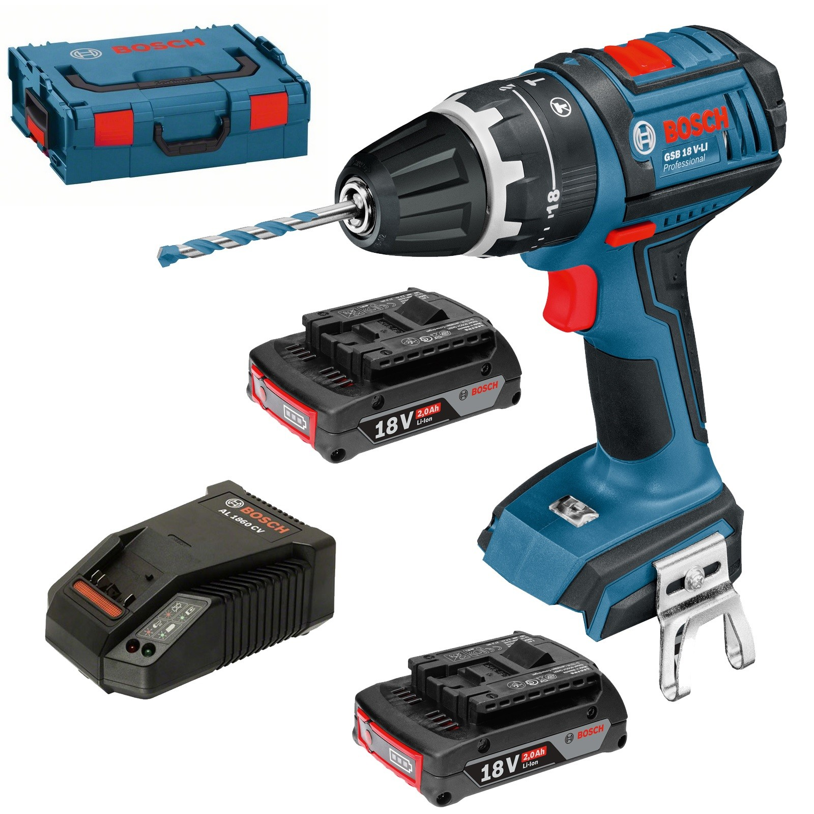 Bosch GSB 18 V-LI Combi Drill Dynamic Series inc 2x 2.0Ah Batt in L-Boxx