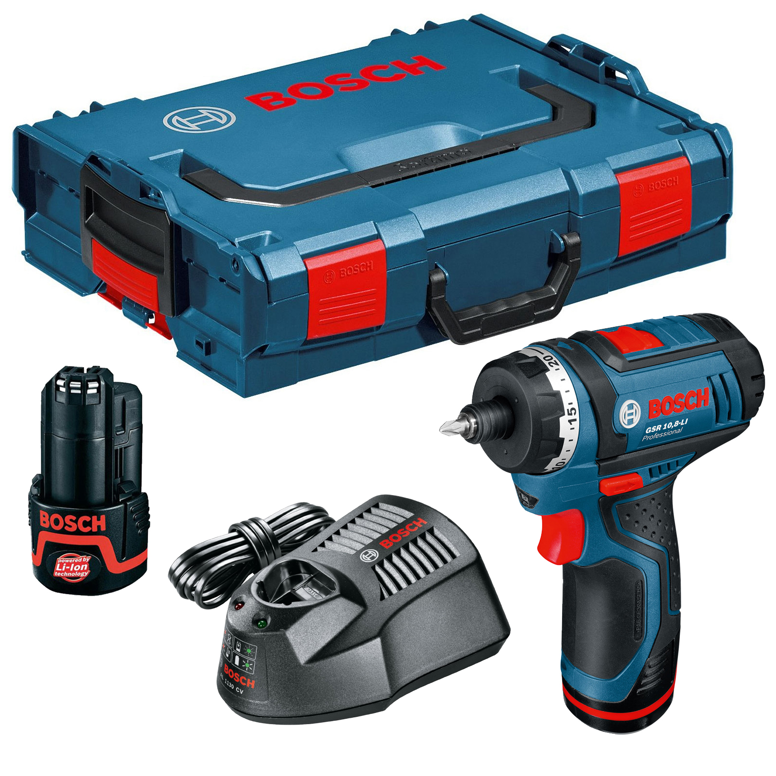 bosch gsr 10 8 li 10 8 volt cordless lithium ion drill driver with hex bit holder including 2x 2. Black Bedroom Furniture Sets. Home Design Ideas