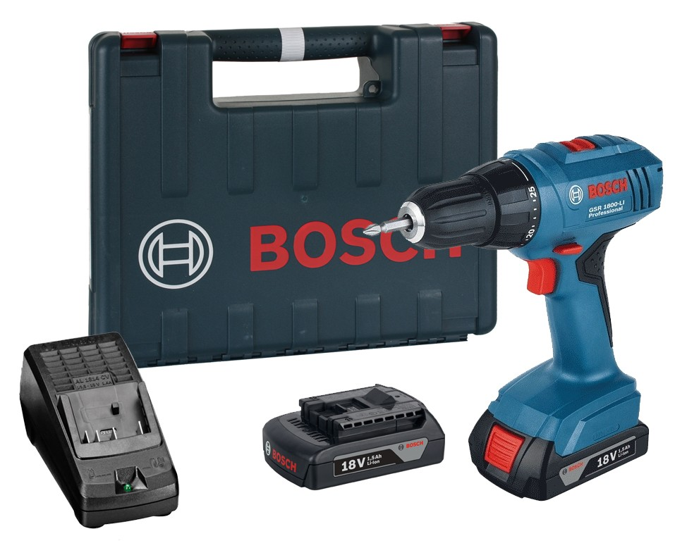 bosch gsr 1800 li drill driver 2 x 1 5ah li ion powertool world. Black Bedroom Furniture Sets. Home Design Ideas