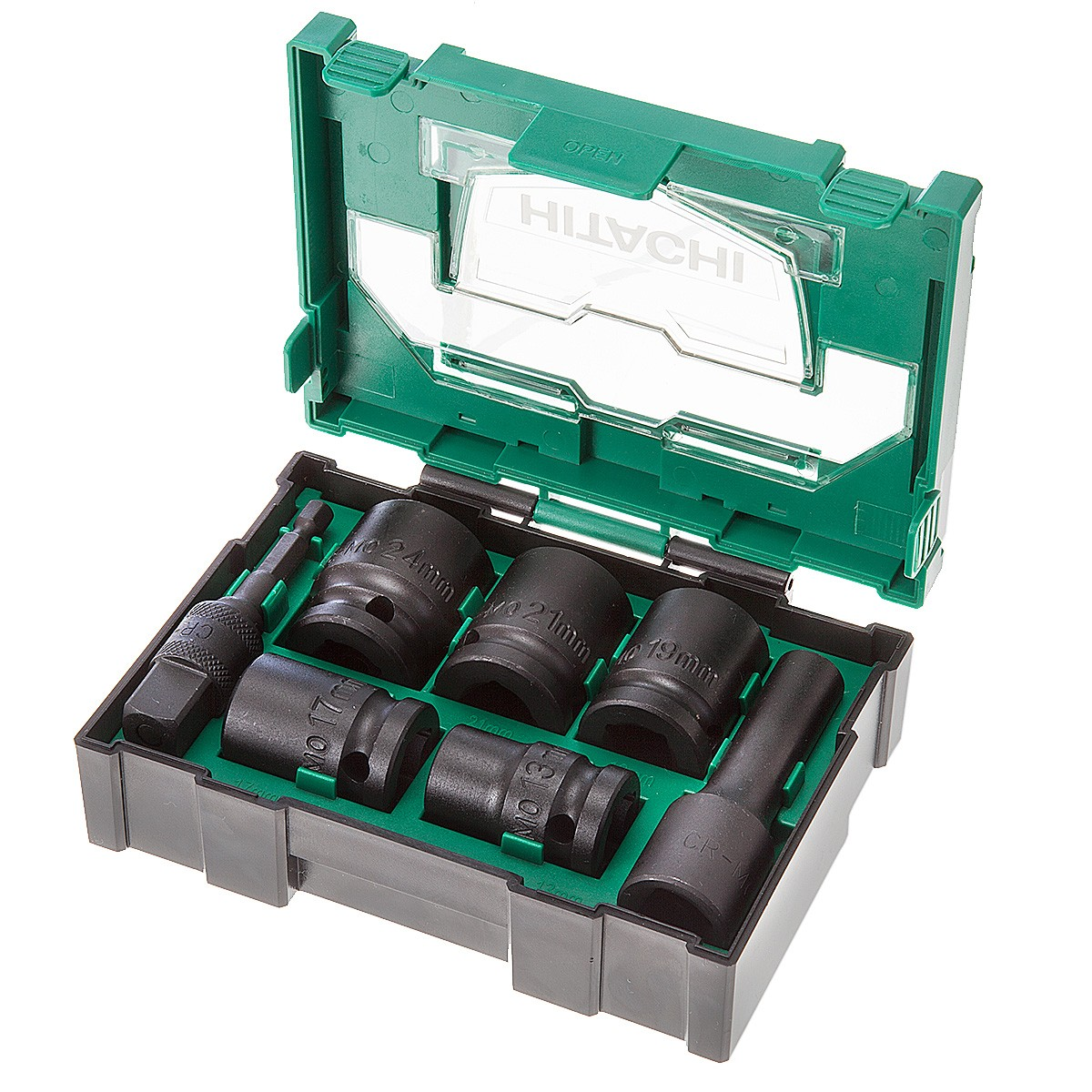 "Hitachi 40030025 1/2"" Impact Socket Stackable Bit Box 7 Pieces"