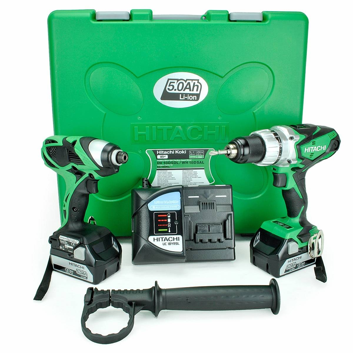 Hitachi KC18DKL 18v Combi Drill & Impact Driver Kit 2x5ah Batts