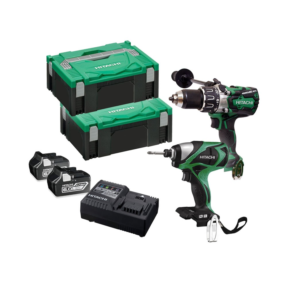 Hitachi KC18DPL/JA 18v Cordless Brushless Twin Kit Combi Drill & Impact Driver 2x 6.0Ah Batts