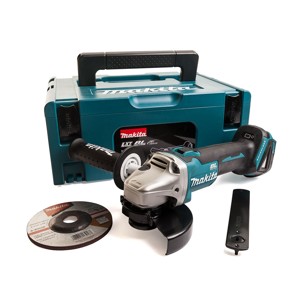 Makita DGA504ZJ1 18v Brushless Slide Switch 125mm Angle Grinder Body Only in Makpac Carry Case