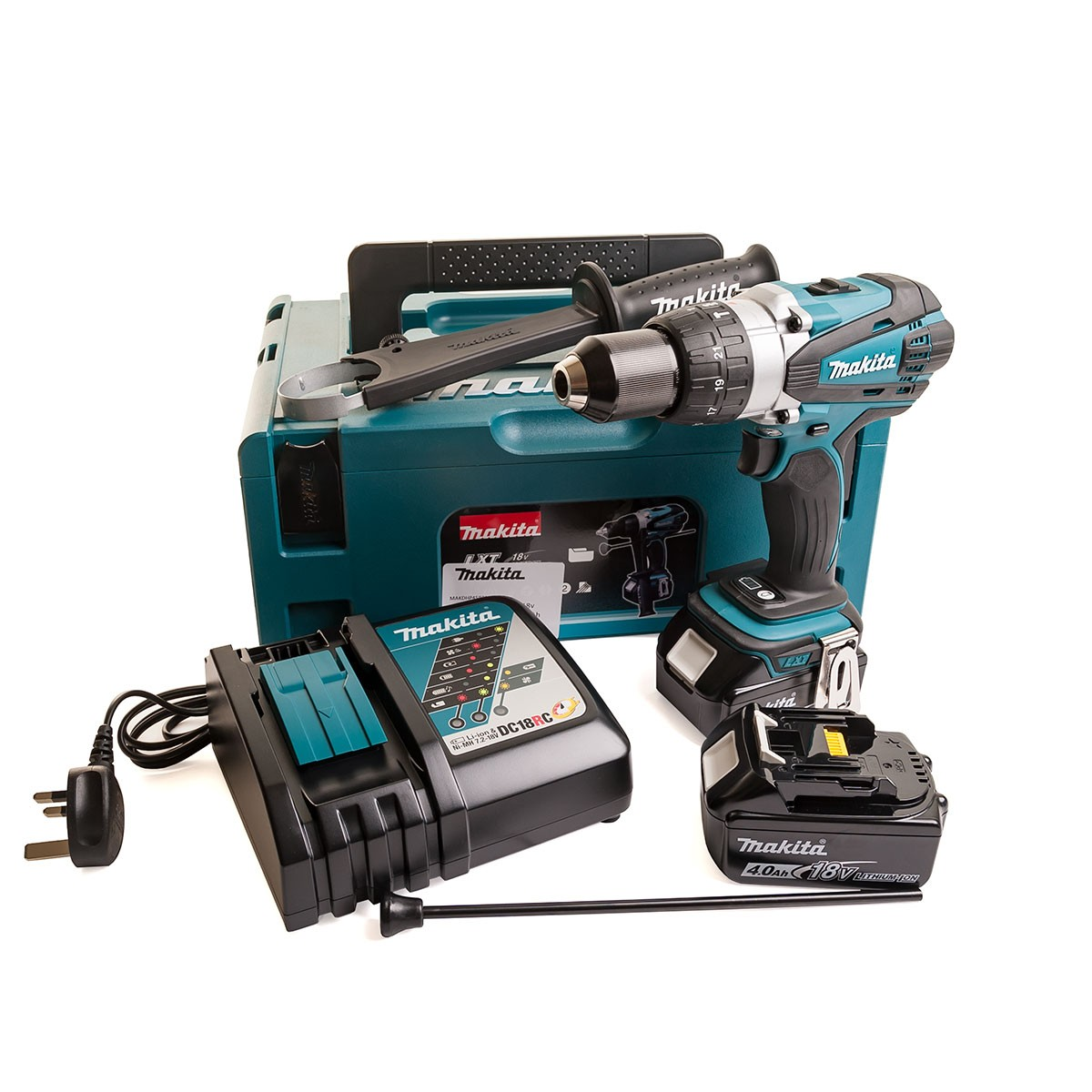 Makita DHP458RMJ 18v Combi Drill with 2 x 4.0Ah Batteries + Charger in Makpac Case