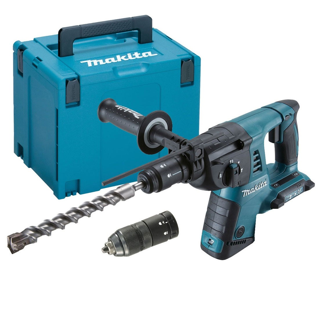 Makita DHR264ZJ Twin 18v SDS+ Rotary Hammer with QCC Body Only in Makpac Case