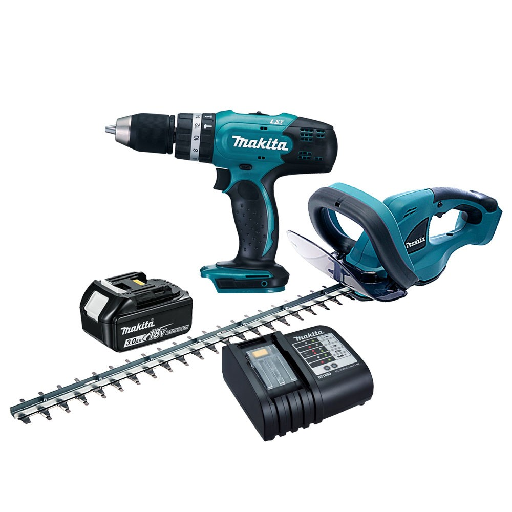 Makita DLX2113S 18v Cordless Twin Kit DHP453 Combi Drill & DUH523 Hedge Trimmer inc 1x 3.0Ah Batt
