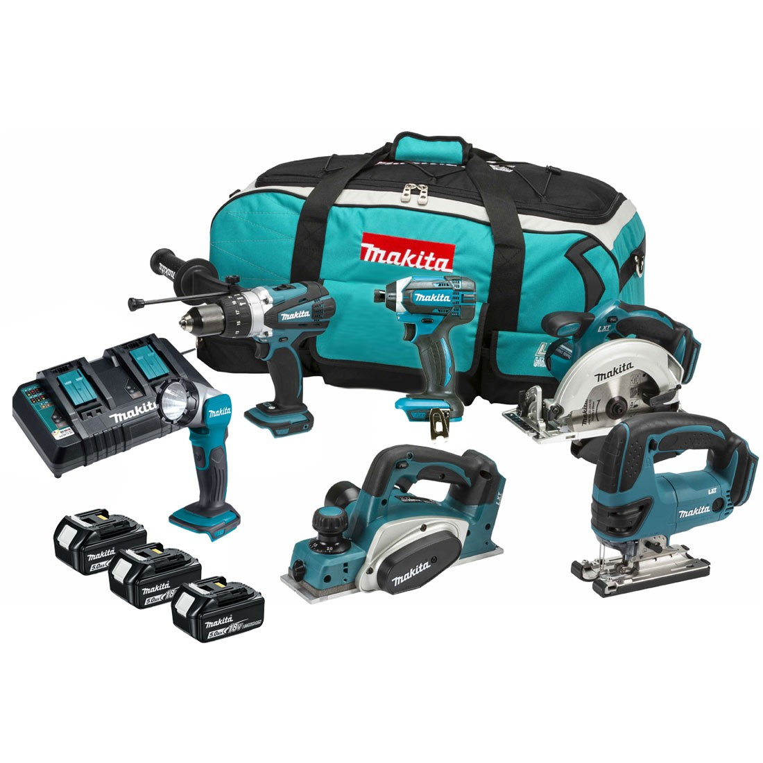 makita dlx6067pt 18v 6 piece kit inc 3x 5ah batts with twin charger powertool world. Black Bedroom Furniture Sets. Home Design Ideas