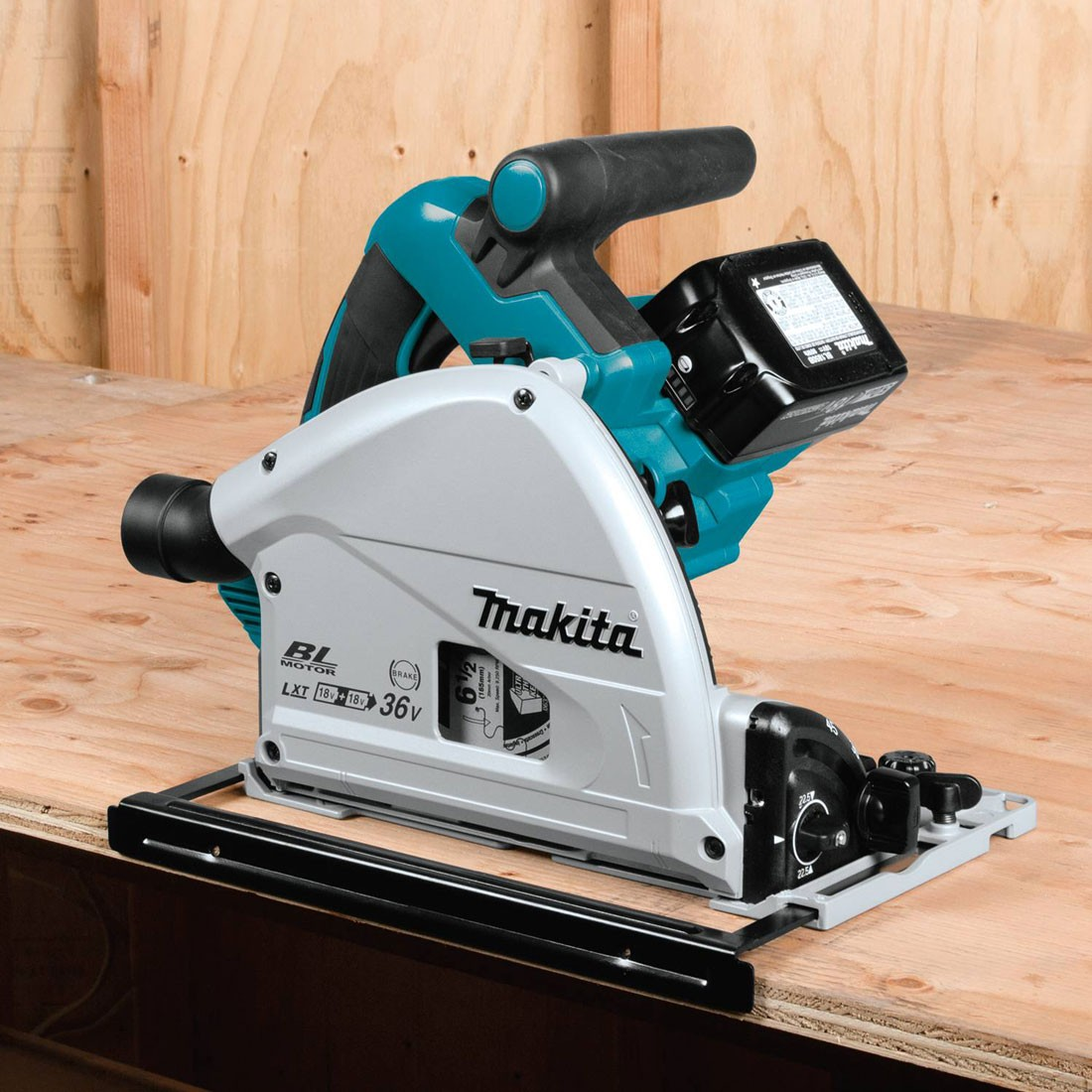 makita dsp600zj twin 18v lxt cordless plunge saw 165mm. Black Bedroom Furniture Sets. Home Design Ideas