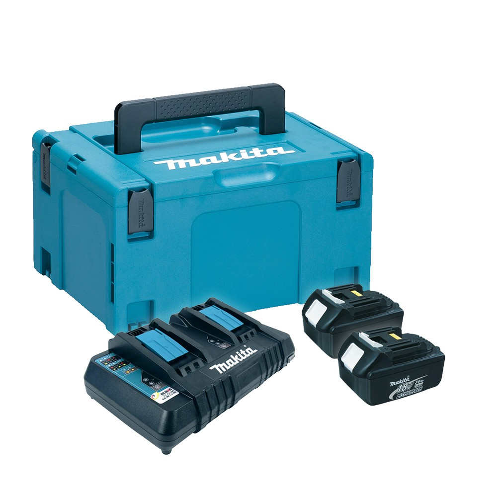 Makita 196696-2 Power Source Kit inc 2x 3.0Ah Batts, Twin Charger & Makpac Case