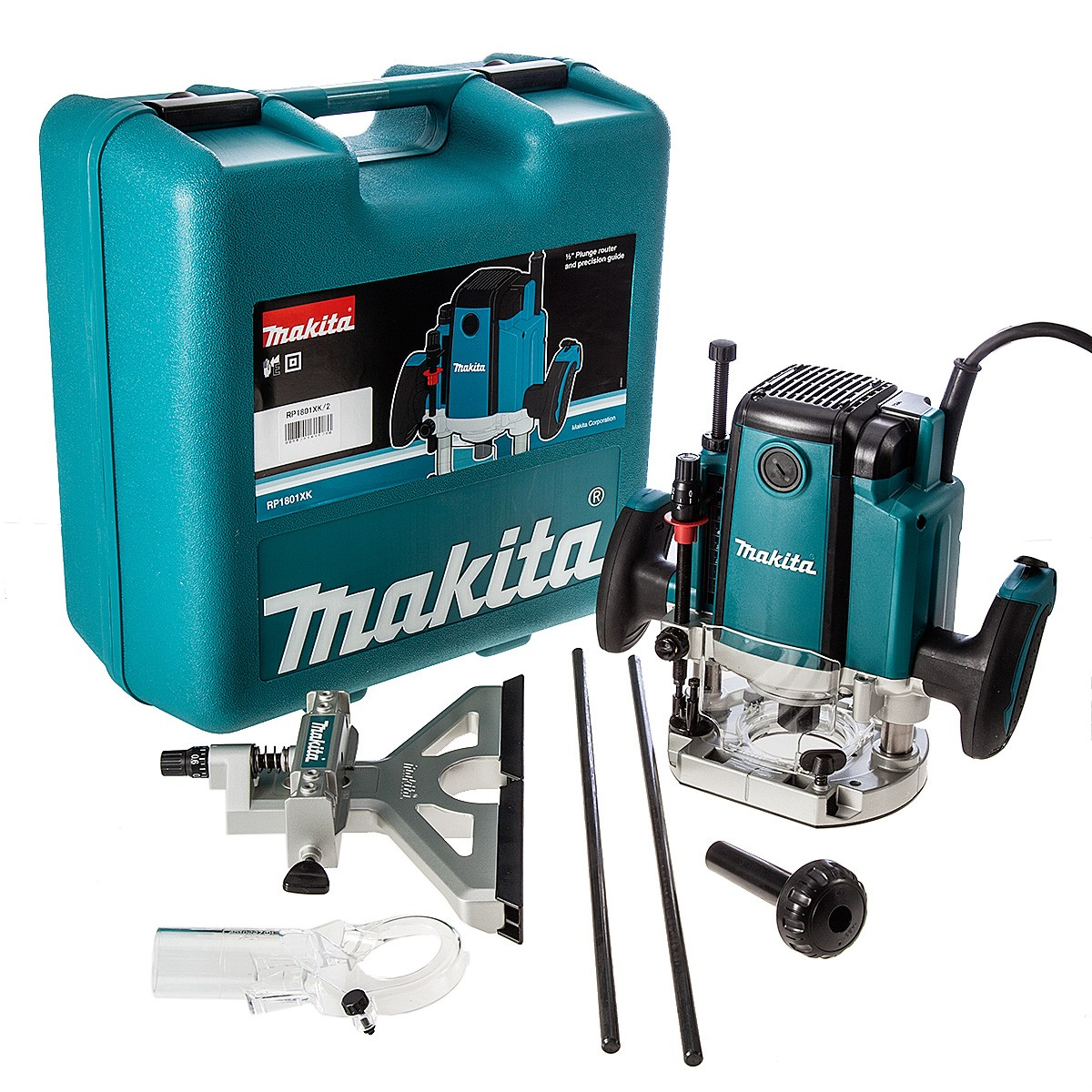 "Makita RP1801XK 1/2"" Plunge Router & Fine Adjustment Guide in Heavy Duty Carry Case"