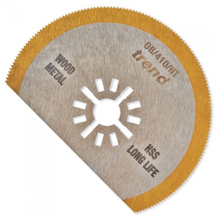 Trend OB/410/HT HSS TiN Long-Life Segmented Oscillating Blade for Sheet Metal, Wood & Fibreglass 80x25mm