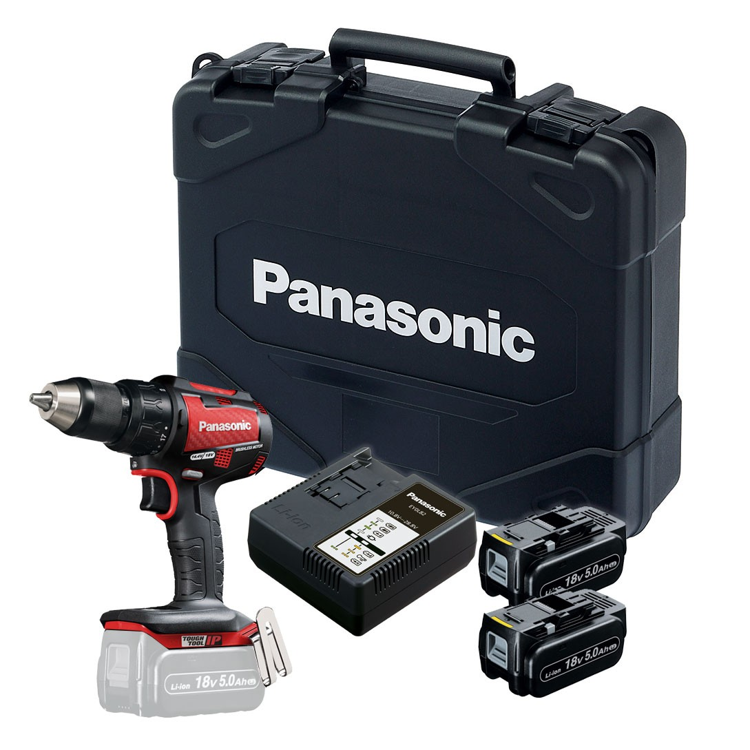 Panasonic EY79A2LJ2G31R 14.4v/18v Red Carbon Brushless Combi Drill inc 2x 5.0Ah Batts